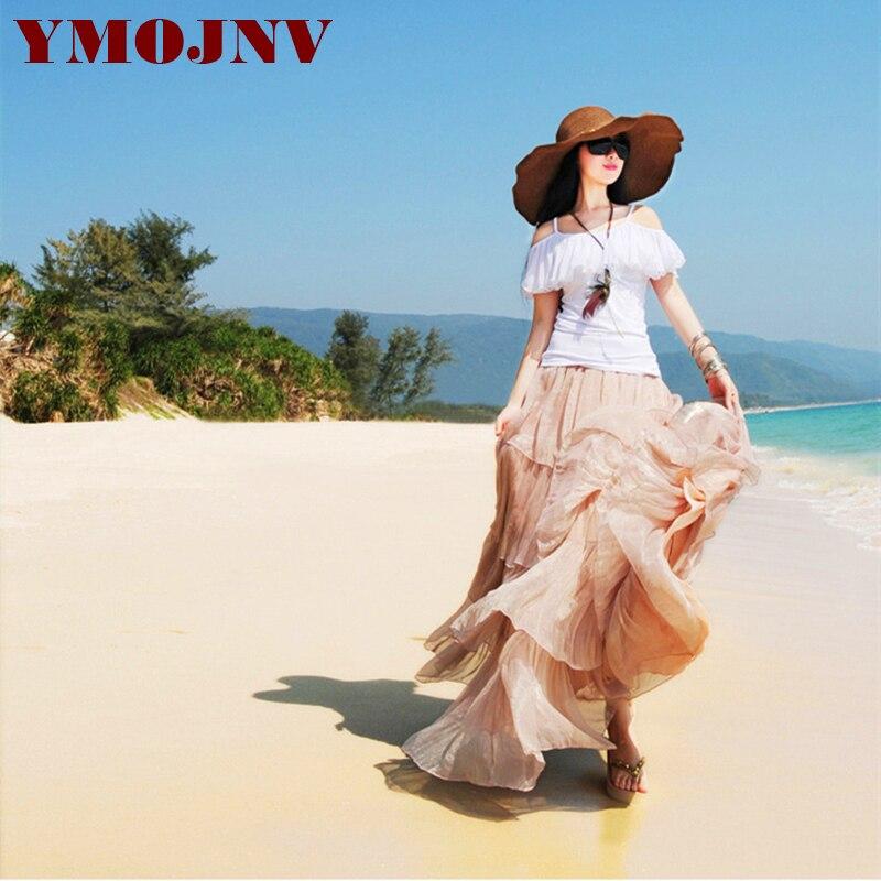 YMOJNV 2018 été nouvelle mode Vintage bohême solide jupe en mousseline de soie femmes étage-longueur longue Maxi plage fête lâche Flare jupes