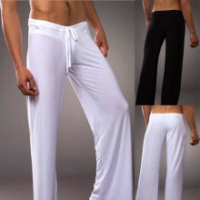 Mens Long Pants Loose Drawstring Plain Casual Home Trousers Yoga Sports Gym CA