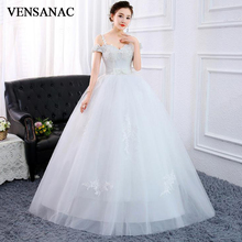 VENSANAC 2019 Sequined Sweetheart Bow Sash Ball Gown Wedding Dresses Lace Appliques Spaghetti Straps Backless Bridal Gowns