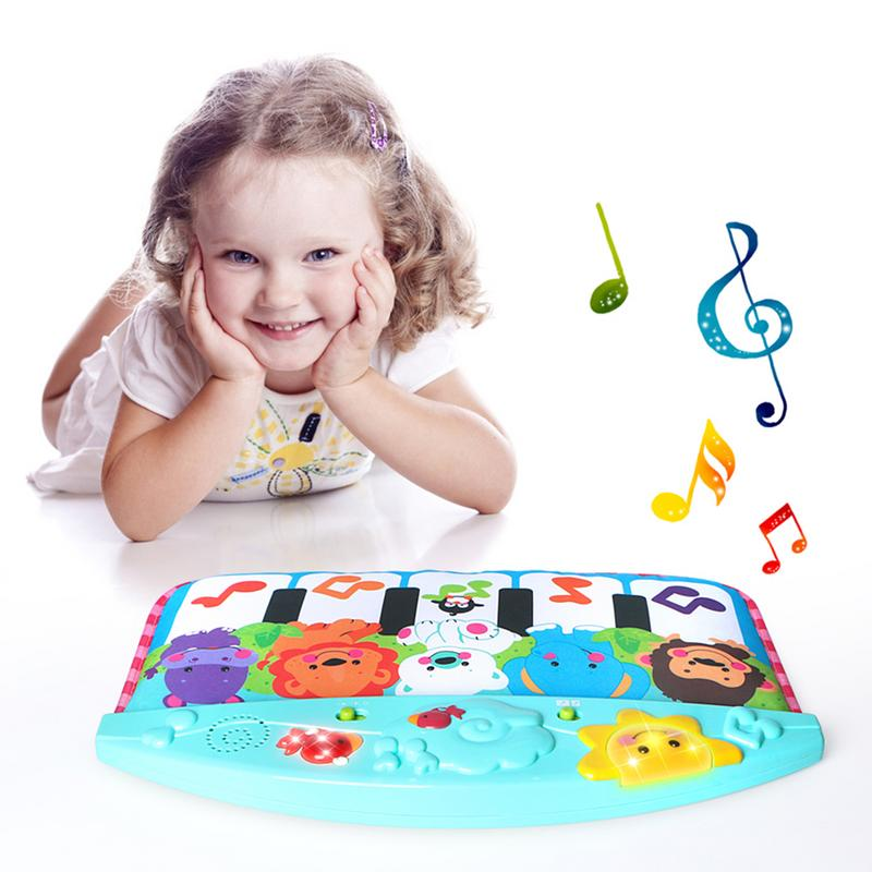 Children's Multi-function Tapping Foot Piano Cartoon Animal Music Lighting Pedal Piano Baby Early Activity Mat Toys