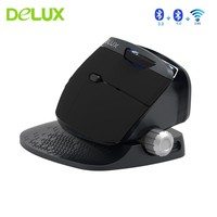 Delux M618X 2.4Ghz Wireless + Bluetooth 3.0/4.0 Multi mode Mouse Rechargeable Ergonomic Vertical Computer USB Optical 6D Mice