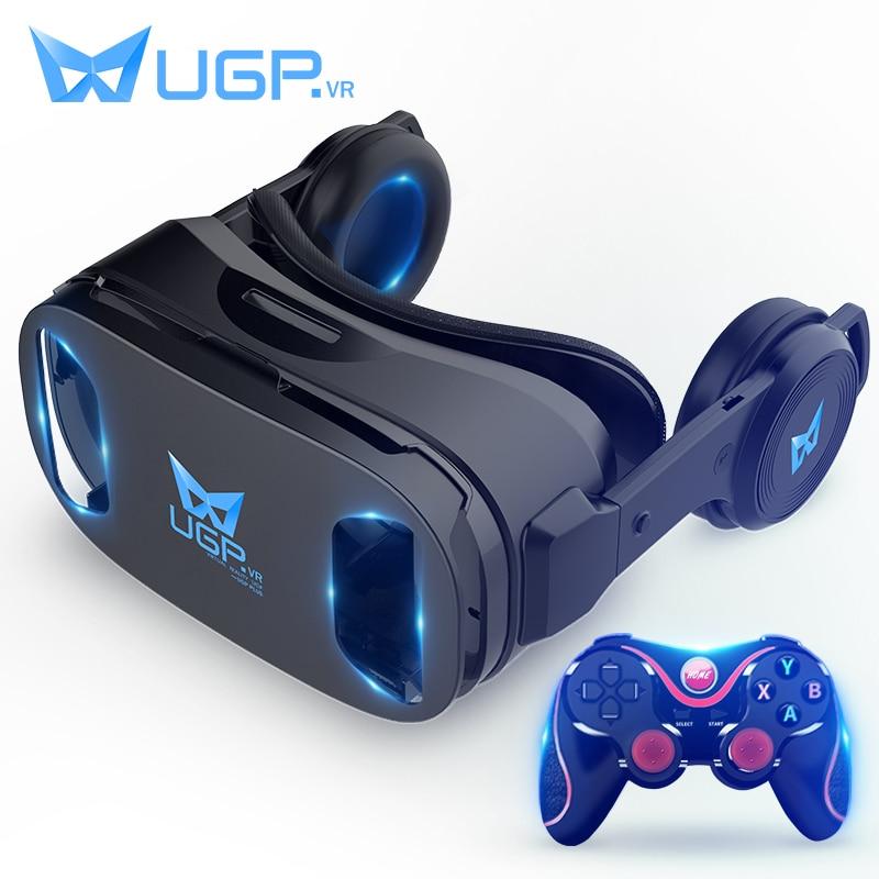 UGP U8 VR Óculos IMAX 3D Capacete 3D Filme Jogos de Realidade Virtual Com Fone De Ouvido + bluetooth Gamepad Para 4.5- 6.0 Polegada Smartphone