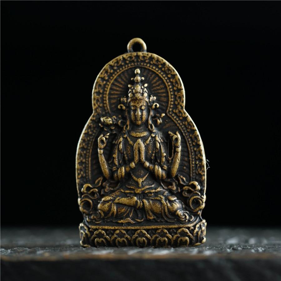 Chinese Brass Tibetan Buddhism Handwork Carved Thousand-Hand Kwan-yin Statue