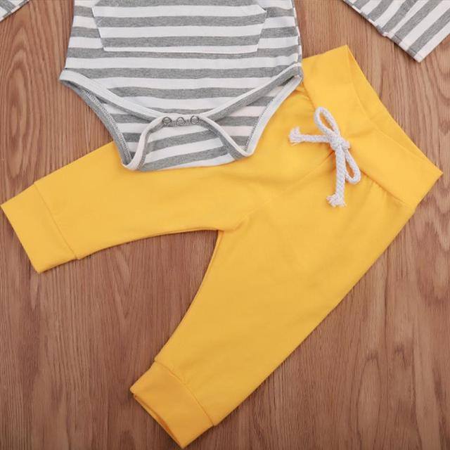 597f9363e9e Newborn Toddler Infant Baby Boys Girl Casual Romper Jumpsuit Blue And White  Striped Top Yellow Pants Romper For Girls