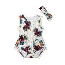 Kids Baby Girls clothes Tassel Flower print round neck sleeveless Bodysuit bow Geometry Headband 2pc Toddler lovely Outfits