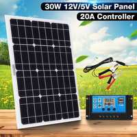 New 3in1 30W 12V/5V DC USB Solar Panel Kit Solar Power System Suit 20A PWM LCD Display Multifunction Controller 30cm DC Cable