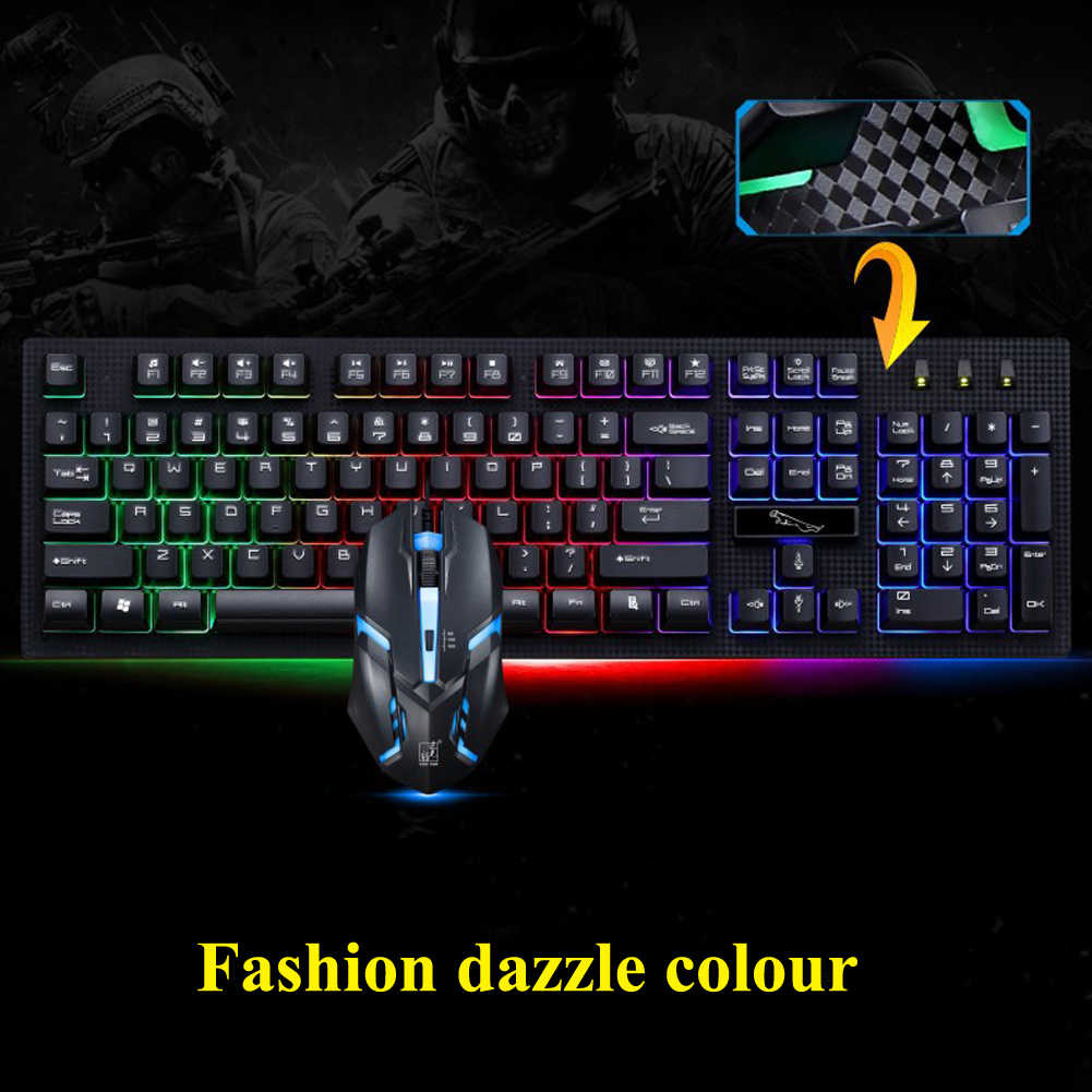 Alloyseed G20 Подсветка проводная клавиатура с USB набор с клавиатурой и мышью Gamer Gaming Keyboard Мышь черный/белый светодиодный свет