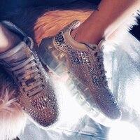 Новинка 2019 года; лучшие модные женские кроссовки с бриллиантами; прозрачная обувь на платформе из натуральной кожи с низким верхом; повседн