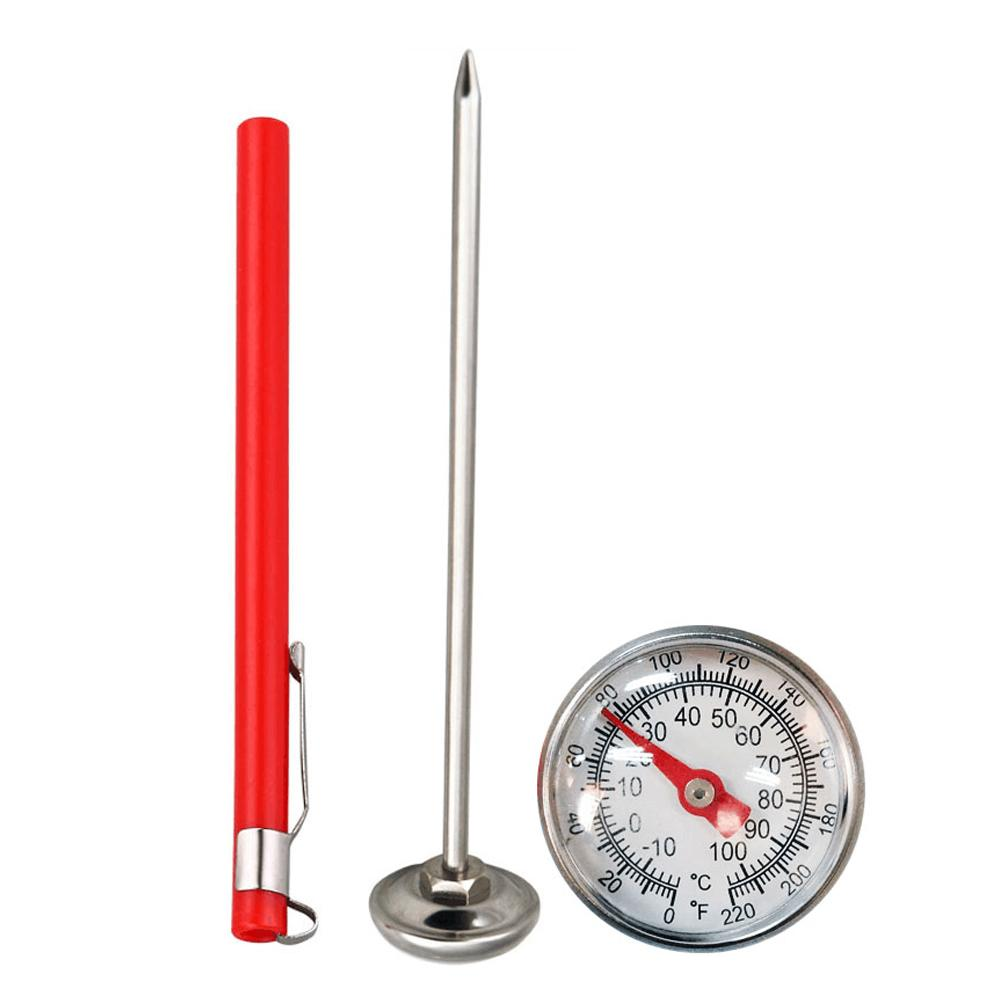 Stainless Steel Soil Thermometer 127mm Stem Easy-to-Read 27mm Dial Display 0-100 Degrees Celsius Range Soil Temperature