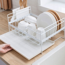 Kitchen Storage Organizer Dish Drainer Drying Rack Kitchen Sink Holder Tray For Plates Bowl Cup Tableware Shelf Basket