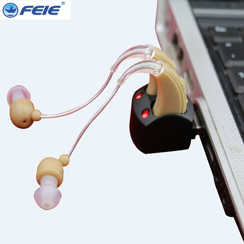 Behind Ear Hearing Aid Amplifier Rechargeable Voice Sound Medico Aids S 109S Deafness Earphone audiophone Free