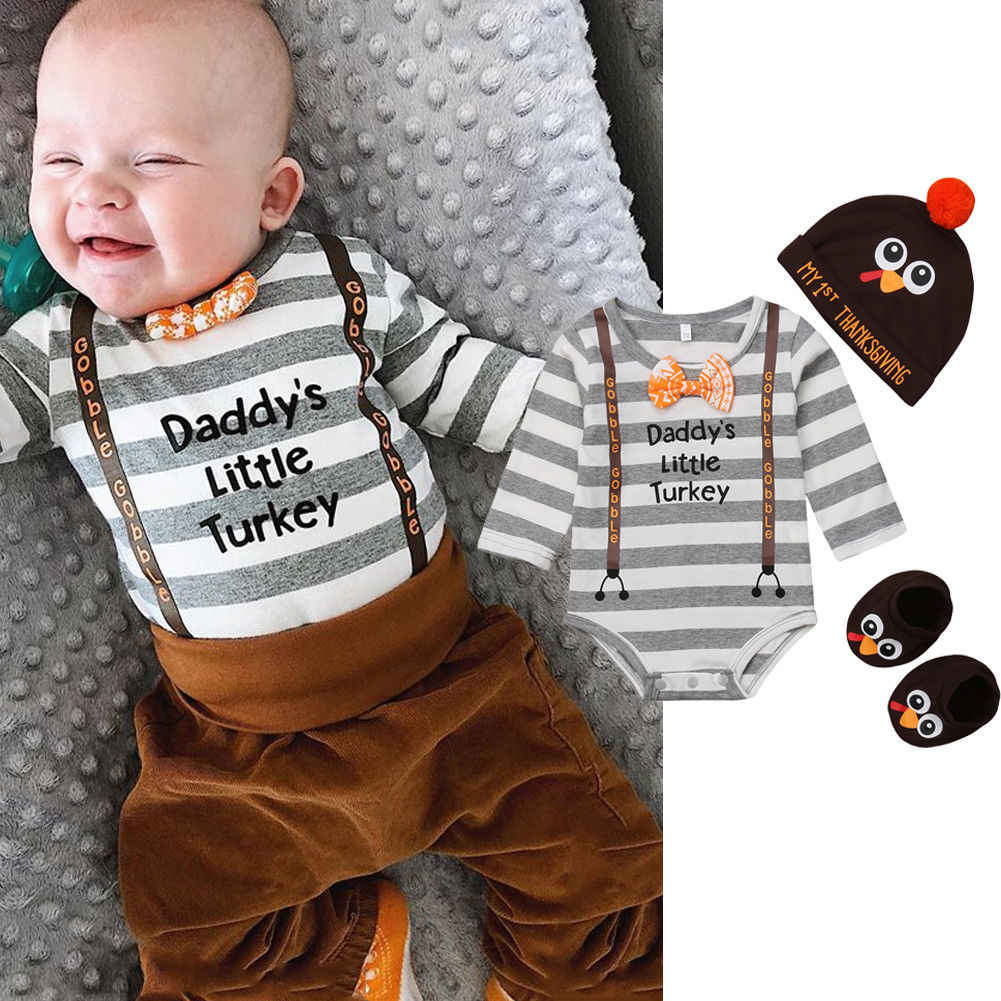 d459658224c Thanksgiving Daddy s Little Turkey Newborn Baby Boy Girl Bodysuit Playsuit  Hat Shoes 3Pcs Outfits Clothes Set