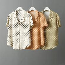 цена на Tailored Collar Summer Chiffon Blouse Women Shirts 2019 Korean Fashion Lolita Style Polka Dot Short Sleeve Cute Blouse femme