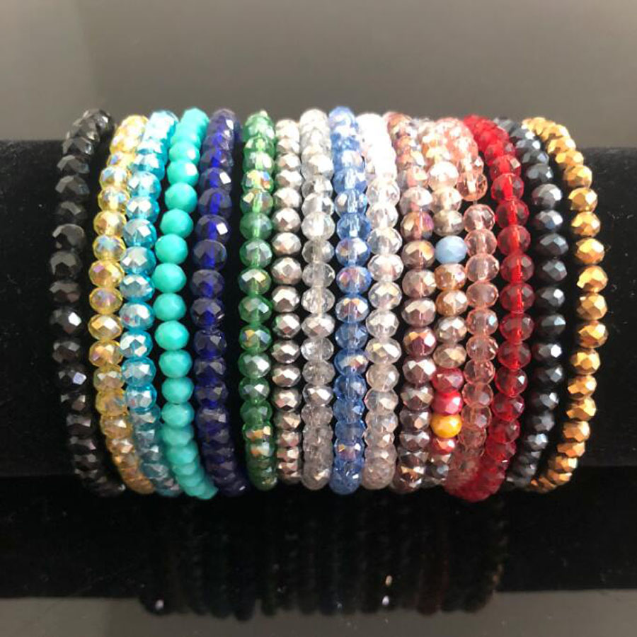 Handmade Women's 4mm Rhinestone Crystal Beaded Round Glass Beads Stretch Bracelet Femme Bangle Bracelets Women Girl Wrap Jewelry