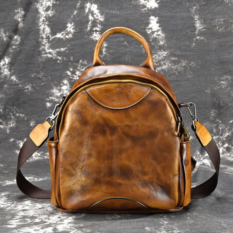 High Quality Natural Skin School Rucksack Girls Daypack Sling Shoulder Bag Travel Knapsack Retro Women Genuine Leather Backpack