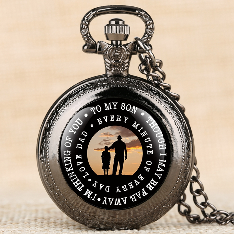 To My Son I Love You, Gifts To Son From Dad Birthday Gifts Creative Laser Engraved Pocket Watch Necklace Pendant For Boys Kids