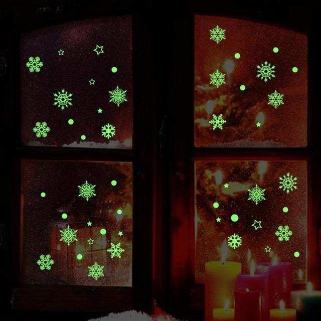 3D DIY Snowflake Glow In The Dark Wall Stickers Luminous Fluorescent Stickers For Window Room Bedroom Home Decor
