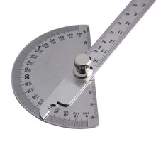 14.5cm Stainless Steel Round Head 180 Degree Protractor Measuring Ruler Tool