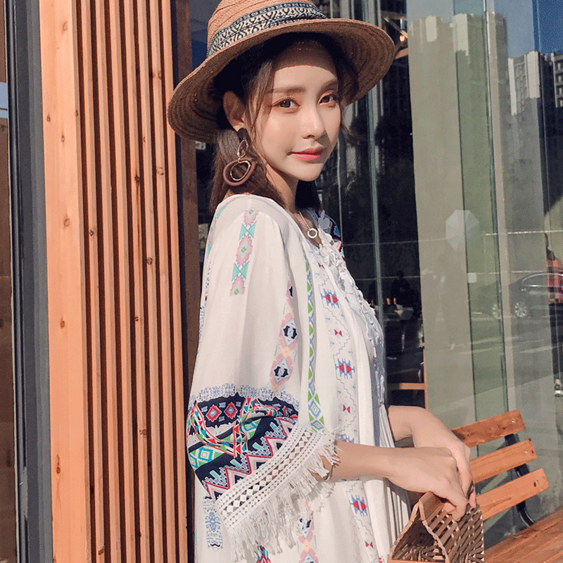 Bohemian style 2018 fashion three quarter flare sleeve summer pure color patchwork embroidery floral print tassel chiffon shirts 16