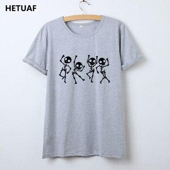 HETUAF Skeleton Halloween T Shirt Women Skull Punk Rock Graphic Tee Shirt Femme Cool Woman Tshirt Top Kawaii Camisetas Mujer 1