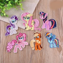 PGY My Little Pony Horse iron on patches for clothes embroidered patch sew stripe DIY Embroidery Iron-On stripes clothing