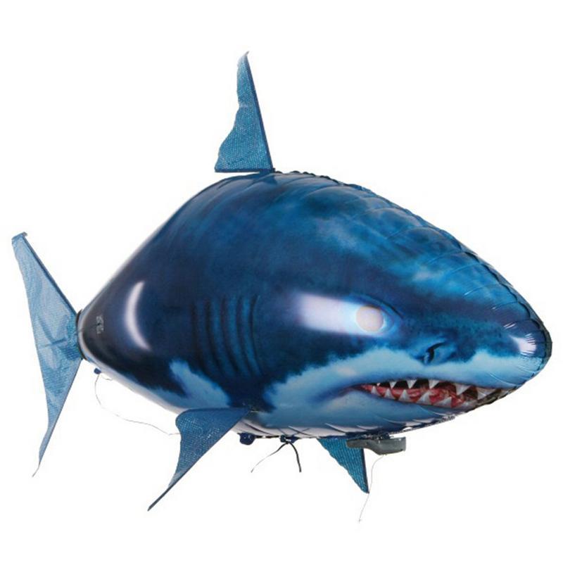 1pc controle remoto voando ar tubarao brinquedo palhaco baloes de peixe inflavel helio aviao de