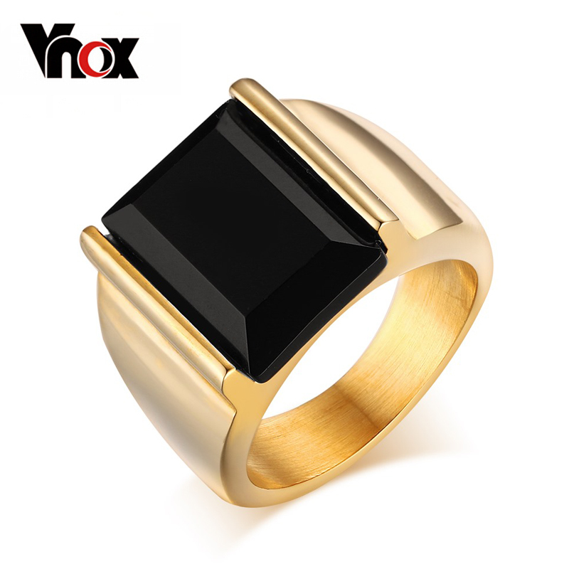 Vnox Men's Signet Ring Black Large Stone 316L Stainless Steel Jewelry Men Charm Wedding Rings