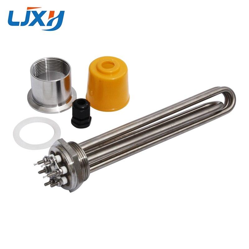 LJXH 220 V/380 V DN40 chauffe-eau élément chauffant avec prise tête écrou puissance 3KW/4.5KW/6KW/9KW/12KW tous 304SS pour l'eau sans réservoir