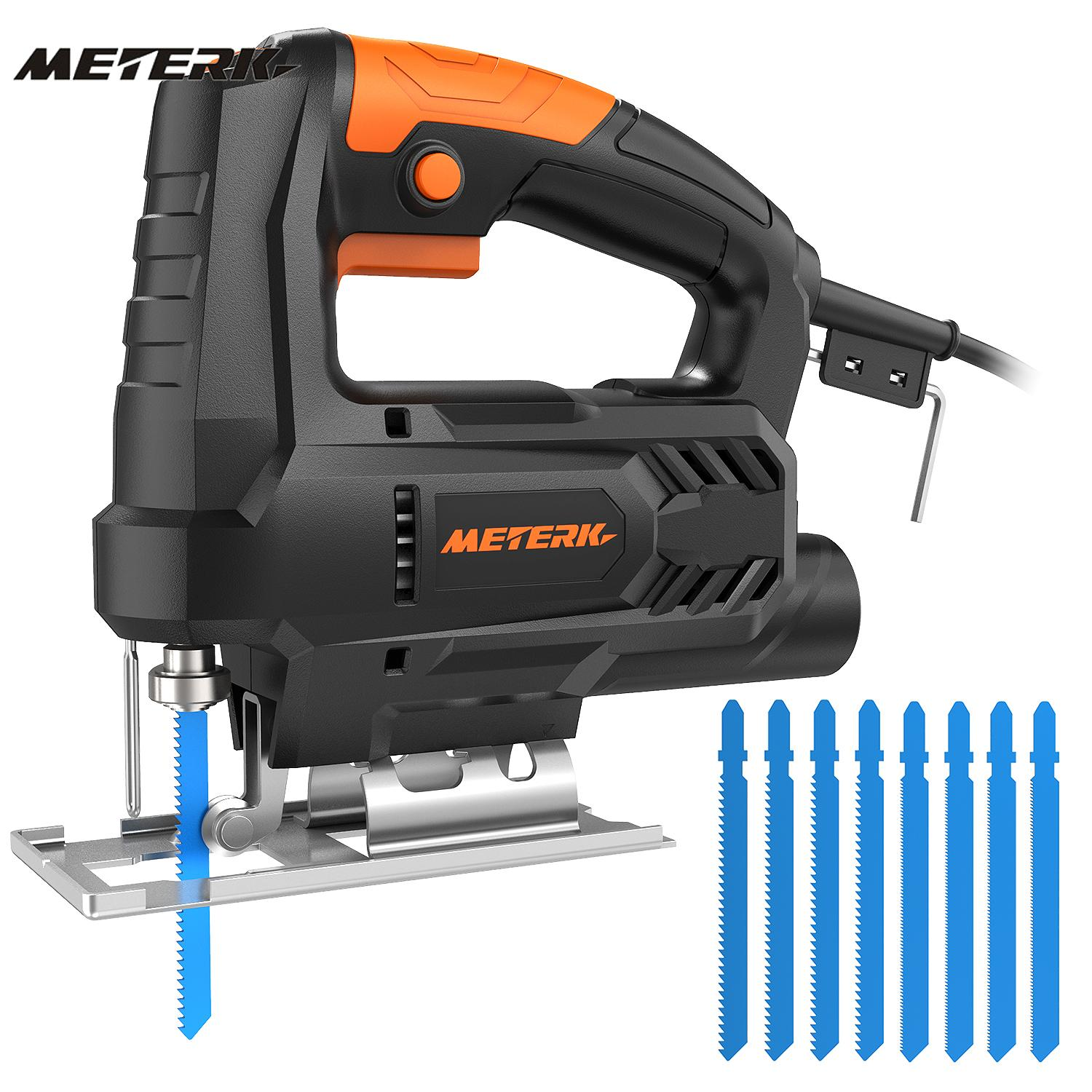 Meterk Electric Jig Saw for metal wood Multi functional Cutter with 4pcs Wood Saw Web 4pcs