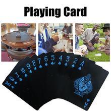 цена на Waterproof PVC Playing Cards Set Pure Color Black Poker Card Classic Magic Tricks Tool Game Party Toy 55pcs