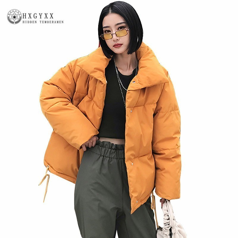 2019 Cotton Down Jacket Women Winter Coat Loose   Parka   Female Turn-down Collar Sigle Breasted Oversize Padded Outwear Okd400