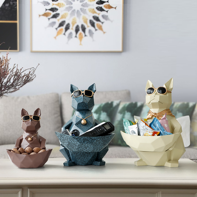 Cat Dog Figurines Resin Moden Crafts Animals Miniature cute ornaments for Home office decoration Storage bowl Carved Collectible 2