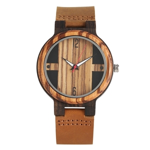 Image 3 - גברים של עץ שעונים רטרו אבוני עץ שעון זכר ייחודי מעורב צבע עץ מתכוונן בנד קוורץ שעוני יד Relogio Masculino