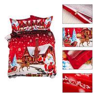 New Hot Sale Bedding Set 3 Size Santa Claus Bed Linen 3pcs/set Duvet Cover Set Pastoral Bed Sheet AB Side Duvet Cover Bed
