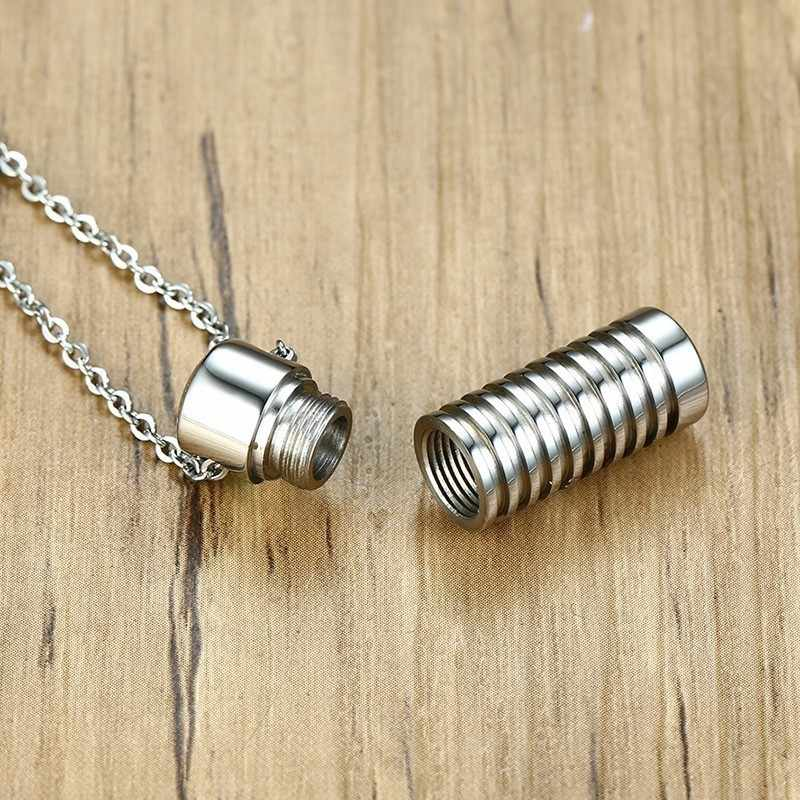 Stainless Steel Ashes Pendant Screws Shape Memorial Urn Necklace For Men Sliver Color Cremation Choker Jewelry