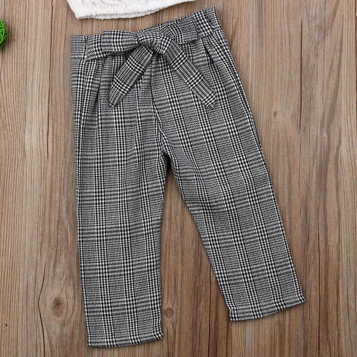 Cute Toddler Kid Baby Girl Summer Lace Tops Crop Plaid Long Pants Outfit Sunsuit