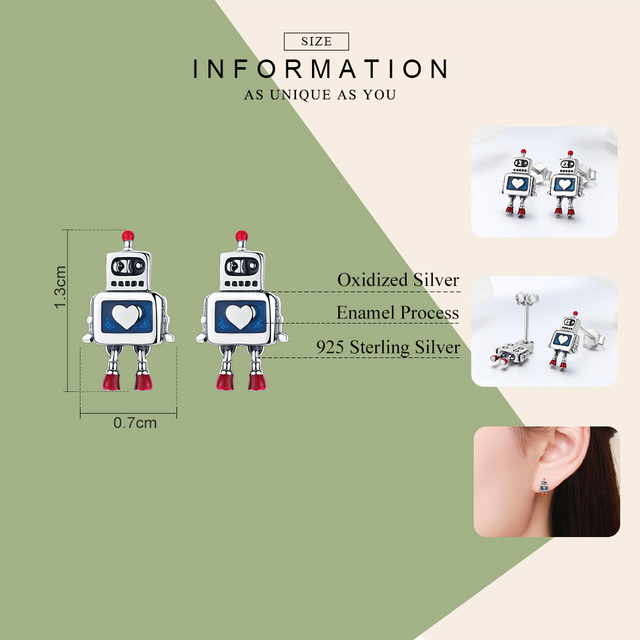 Heart Robot Stud Earrings1