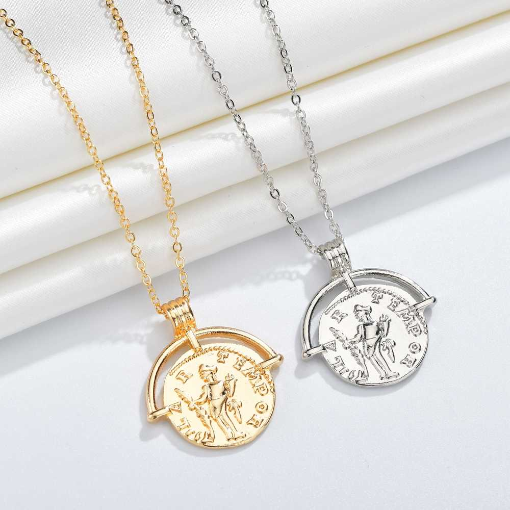 2019 Vintage Fashion Gold Silver Color Coin  Pendants Necklaces For Women Simple Portrait Charms Necklace For Gifts Jewelry Gift
