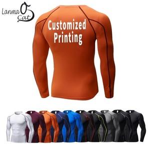 Image 1 - Lanmaocat Sports Wear For Mens Fitness Jersey Shirt Custom Logo Print Men Bodybuilding Compression Clothes TShirt Free Shipping