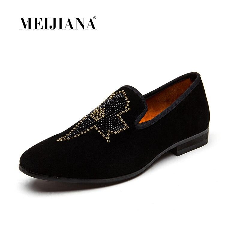 Robe New Feuille Décontracté Non Paillettes Meijiana Rivet slip De Noir Chaussures Métal Mocassins Bal Plates Designer Britannique Respirant PS8PgxIwq