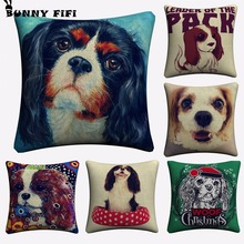 Cavalier King Charles Pet Dog Decorative Cotton Linen Cushion Cover 45x45cm For Sofa Chair Pillowcase Home Decor Almofada