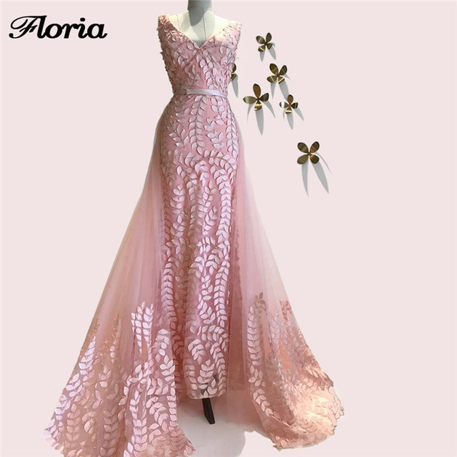 Arabic Aibye Pink Evening Dress Detach Skirt Turkish lace Long Party  Pageant Gowns Abendkleider African Prom 7aef62aefdb3