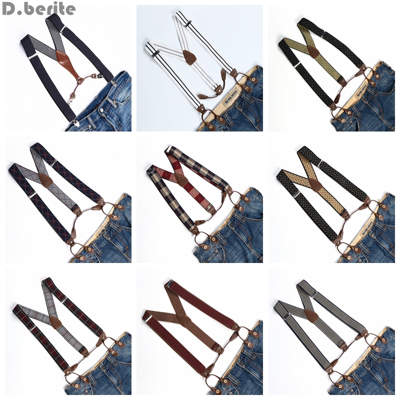Men Women Adjustable Buttons Style Belt Elastic Suspenders Unisex Striped Plaid Floral Braces 3.5cm Width BD763-BD776