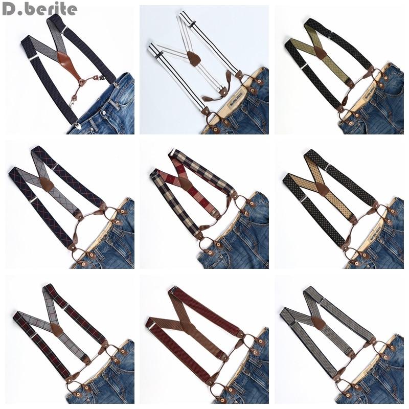 Men Women Adjustable Buttons Style Belt Elastic Suspenders Unisex Striped Plaid Floral Braces 3.5cm Width BD763-BD776