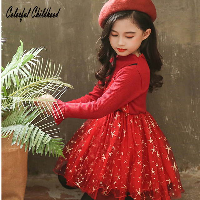 Toddler Christmas Outfit Girl.Us 15 46 9 Off Blingbling Star Printing Christmas Dress Girl Kids Party Wear Dresses For Girls Princess Costumes Toddler Clothing Kid Vestidos In