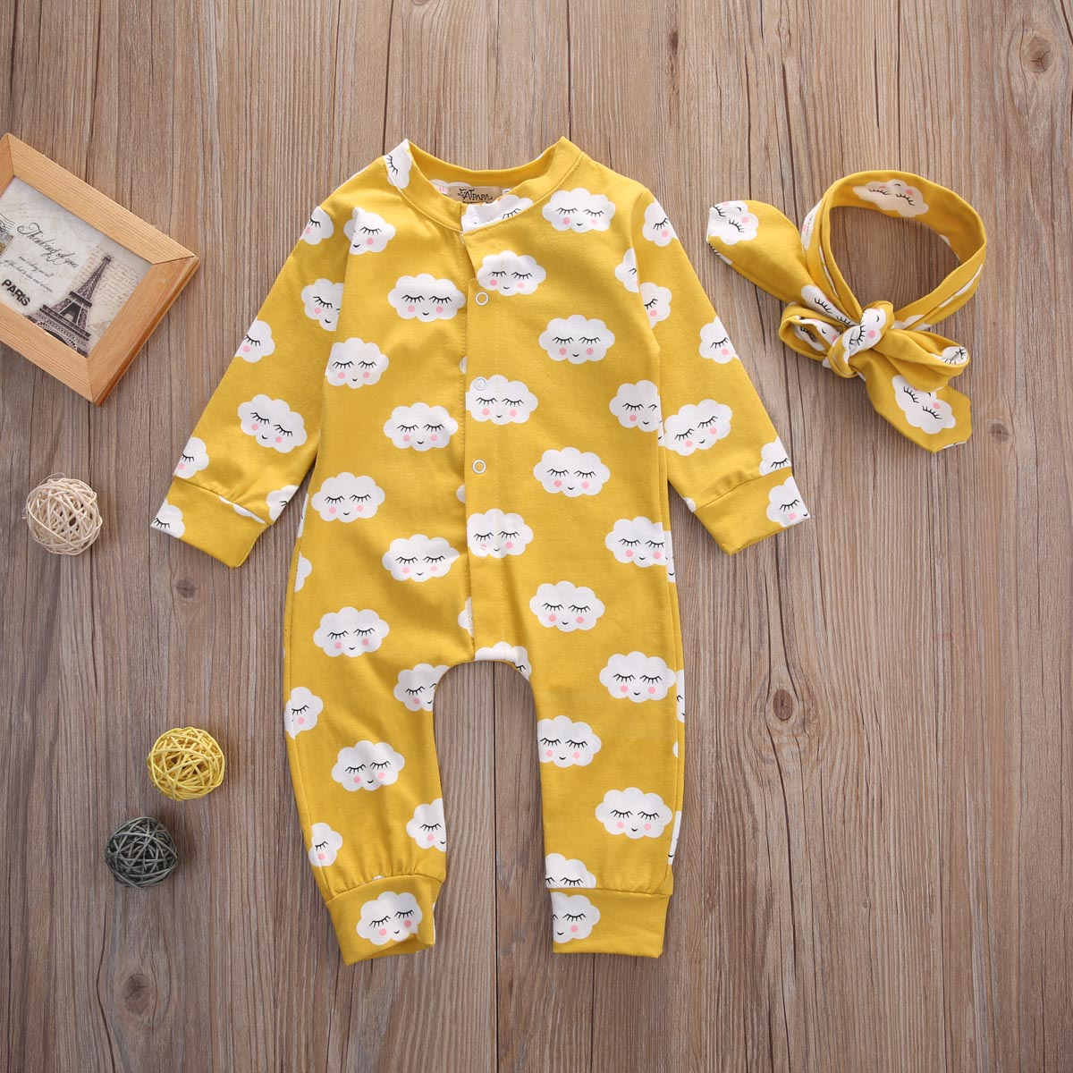 Pudcoco Baby Rompers Spring Autumn Newborn Long Sleeve Buttons Up Rompers Baby Clothes Smile Face Print Yellow in Rompers from Mother Kids