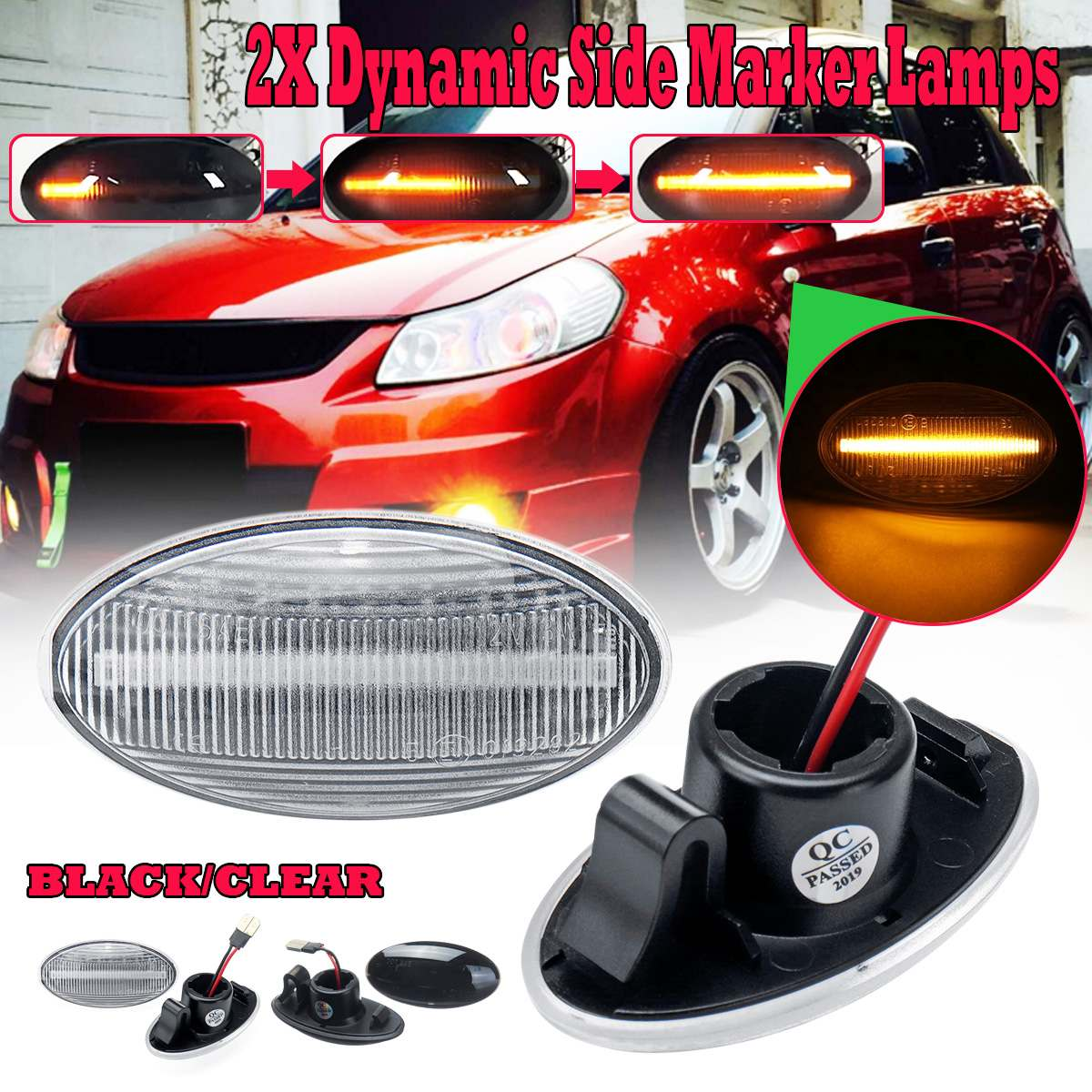 2pcs Dynamic LED Side Marker Light Indicator Repeater Turn Signal Lamp For Suzuki Swift Alto SX4 Jimmy Vitar2pcs Dynamic LED Side Marker Light Indicator Repeater Turn Signal Lamp For Suzuki Swift Alto SX4 Jimmy Vitar