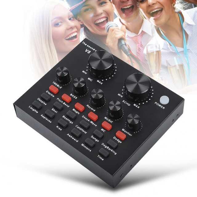 microfone accessories Audio Mixer External USB Headset Microphone Mobile  Computer PC Live Sound Card Karaoke