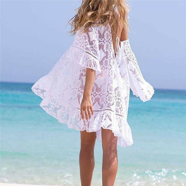 04a68e493a 2019 Women Beach Cover up Sexy Lace floral Crochet loose bikini mini dress  off shoulder Bathing Holiday ruffles fancy hollow New