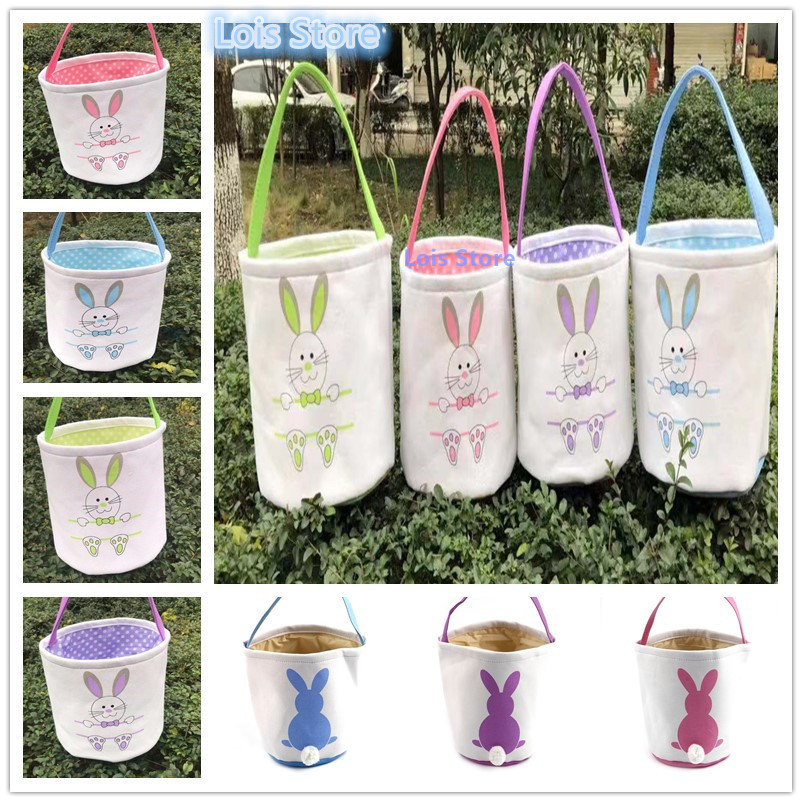 Easter Bunny Tote Bags 100pcs lot Personalized Easter Buckets Canvas Tail Easter Baskets 8 Styles Can